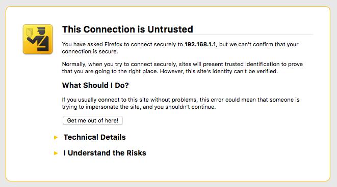 Edge Router X - Login Screen Warning