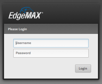 Edge Router X - Login Screen