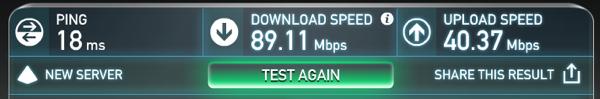 Ubiquiti Unifi AP LR Internet Speed Test on SpeedTest.Net